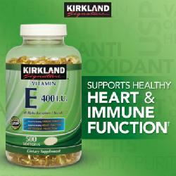 Kirland Vitamin E 400 IU - Viên uống bổ sung Vitamin E hộp 500 viên của Mỹ