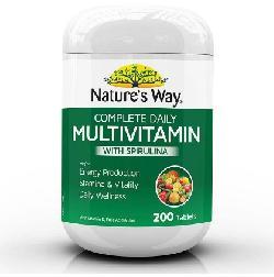 Vitamin tổng hợp và tảo biển Natures Way Multivitamin Spirulina 200 viên của Úc