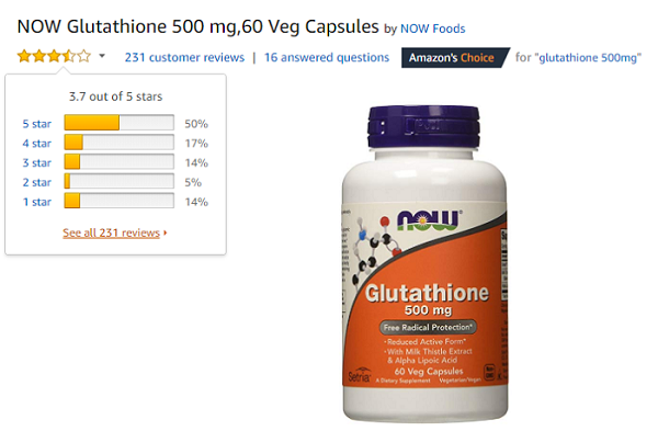 Glutathione Now Review trên amazon