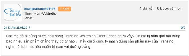 Review Nước Hoa Hồng Transino Whitening Clear Lotion